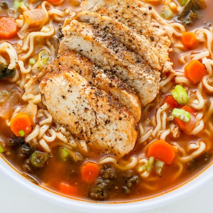 Blackened Chicken Ramen Noodle Soup