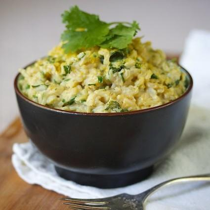Cheezy Spinach And Cilantro Rice