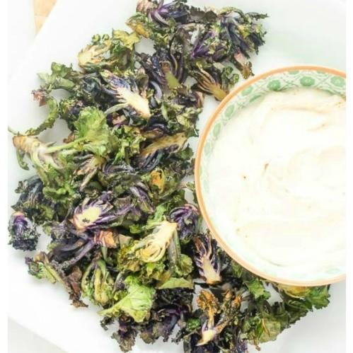 Crispy Roasted Kalettes With Light Garlic Parmesan Dip
