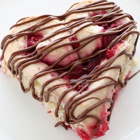 Heart Shaped Raspberry Rolls