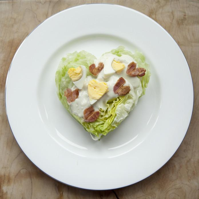Heart Shaped Wedge Salad With Bacon Hearts