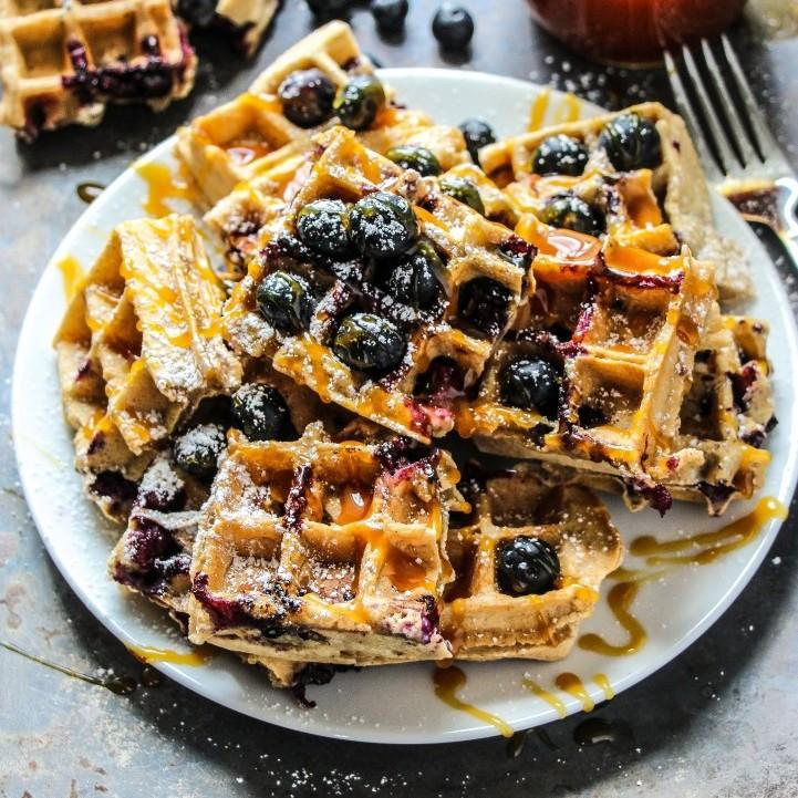Homemade Browned Butter Blueberry Waffles