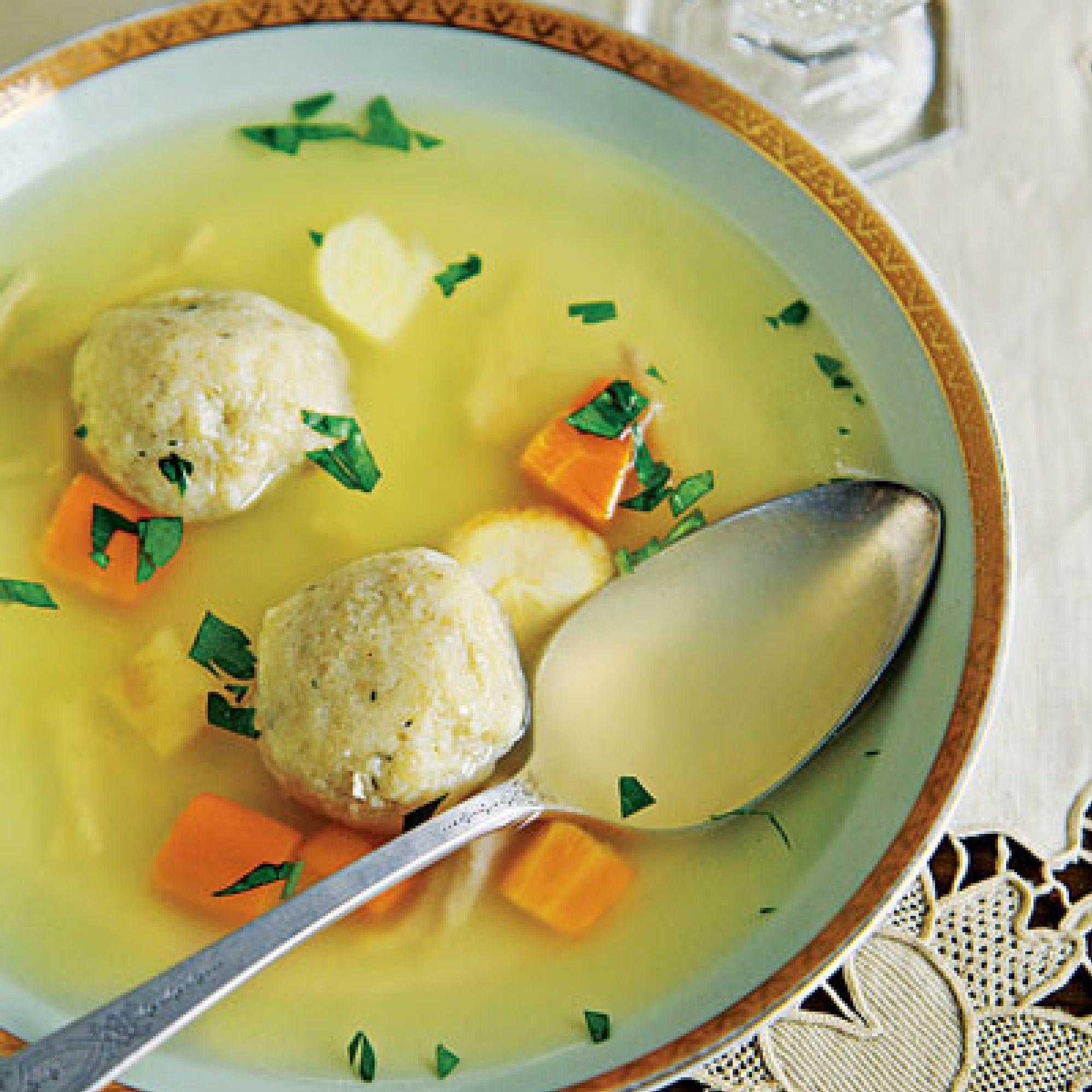 Matzo ball soup. Make these Jewish recipes at your next dinner party! These are perfect for large gatherings to celebrate all the Jewish holidays.
