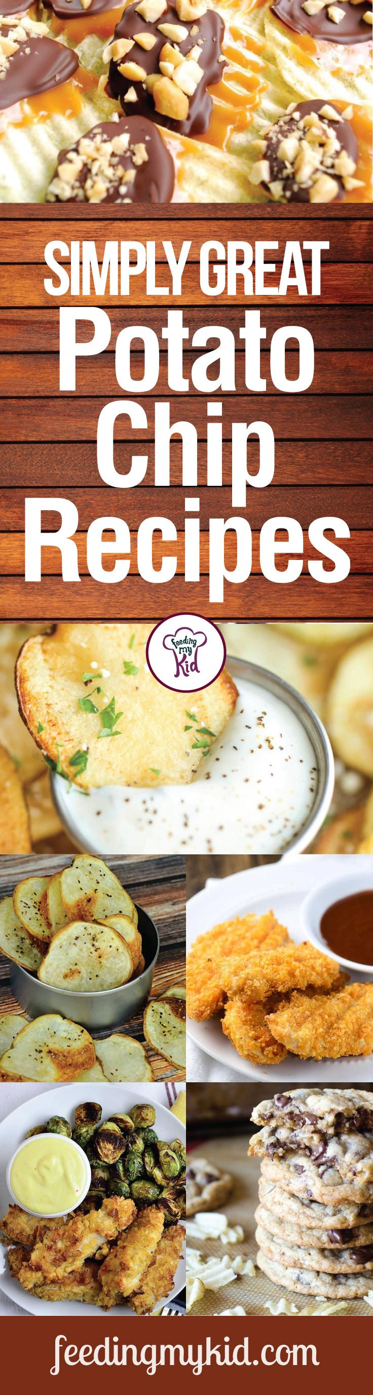 Simply Great Potato Chip Recipes - Potato chips have been a staple of american food culture for decades. Unfortunately, they have a bad reputation for being unhealthy and fattening, which is why we put together this more healthified list so you can indulge in a homemade tasty snack that is a better alternative to store bought chips. In these recipes you'll learn how to make potato chips and how to use potato chips in other recipes to make great tasting lunches and dinners.