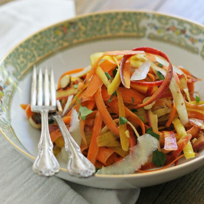 Rainbow Carrot Ribbon Salad
