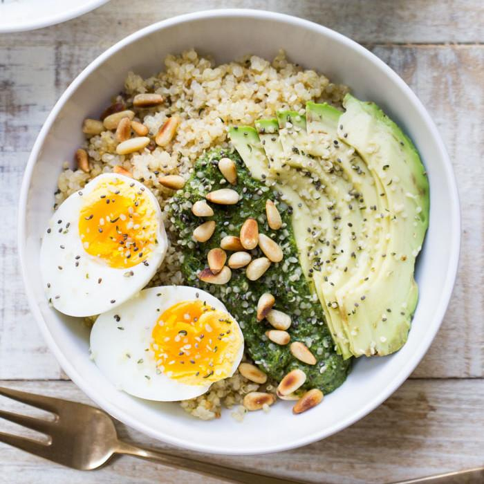 Nutritional yeast recipes 25 essential recipes for every meal savory pesto quinoa breakfast bowls forumfinder Images