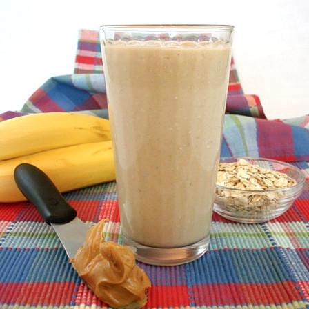 Smoothie with Peanut Butter And Oatmeal For Breakfast