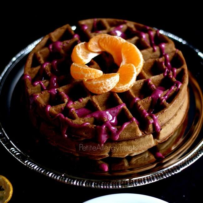 Teff Waffles With Blueberry Orange Glaze