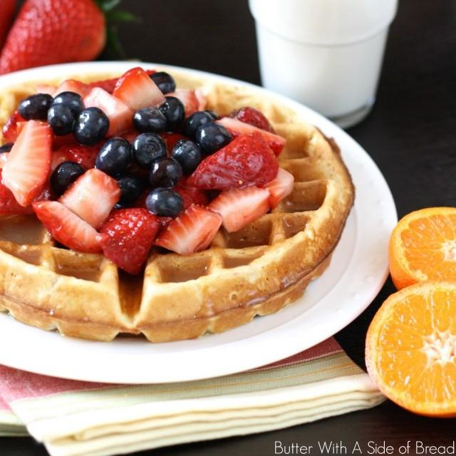 Vanilla Orange Waffles With Butter Syrup