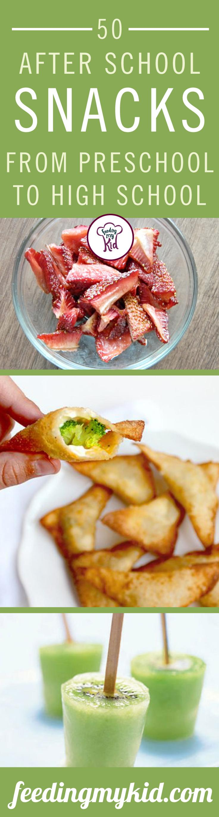 After school snack ideas. This is a must share! Try these after school snacks! They are a great way to ensure that your kids are eating right. From kiwi ice pops to banana split bites! This is a must share! Feeding My Kid is a great website for healthy tips, recipes, and ways to eat clean. #fmk #recipes #snacks #afterschoolsnacks