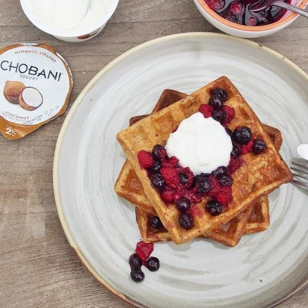 Banana, Oat And Linseed Waffles With Coconut Yoghurt And Berry Compote