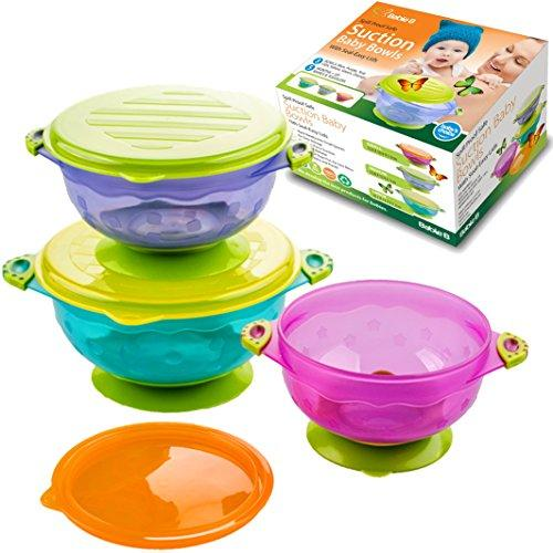 Best Baby Bowls, Spill Proof, Stay Put Suction Bowls With Seal Easy Lids Stack Easy For Storage
