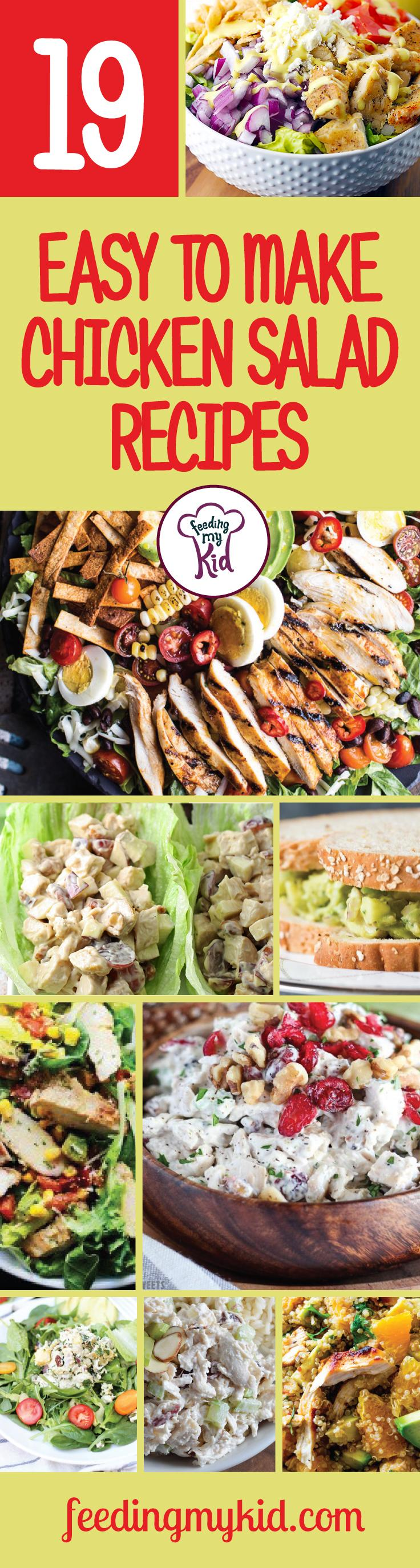 19 Easy to Make Chicken Salad Recipes - This is a must share! Chicken Salad, whether it's traditionally made or has a new spin on it, is always a delicious, easy to make meal that the whole family will love. Whether's it's the perfect lunch, a quick and easy dinner or a packed picnic meal, chicken salad makes a great treat! That's why we put together not just one chicken salad recipe but many chicken salad recipes, just for you! This is a must pin! #fmk #recipes #chicken
