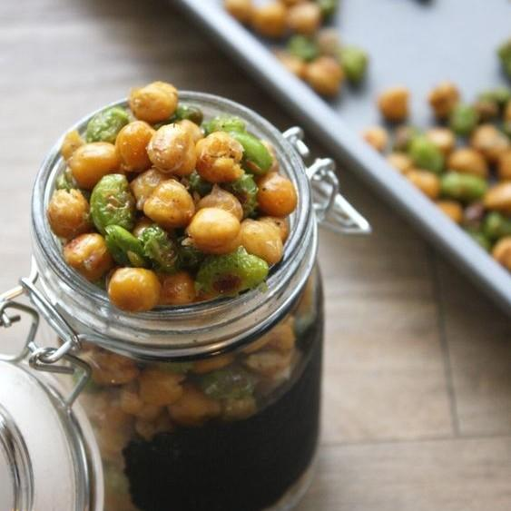 Cripsy Chickpea And Edamame Oven Snack