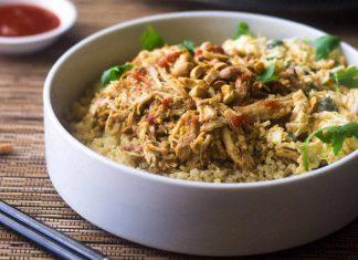 Crockpot Thai Peanut Chicken Quinoa Bowls