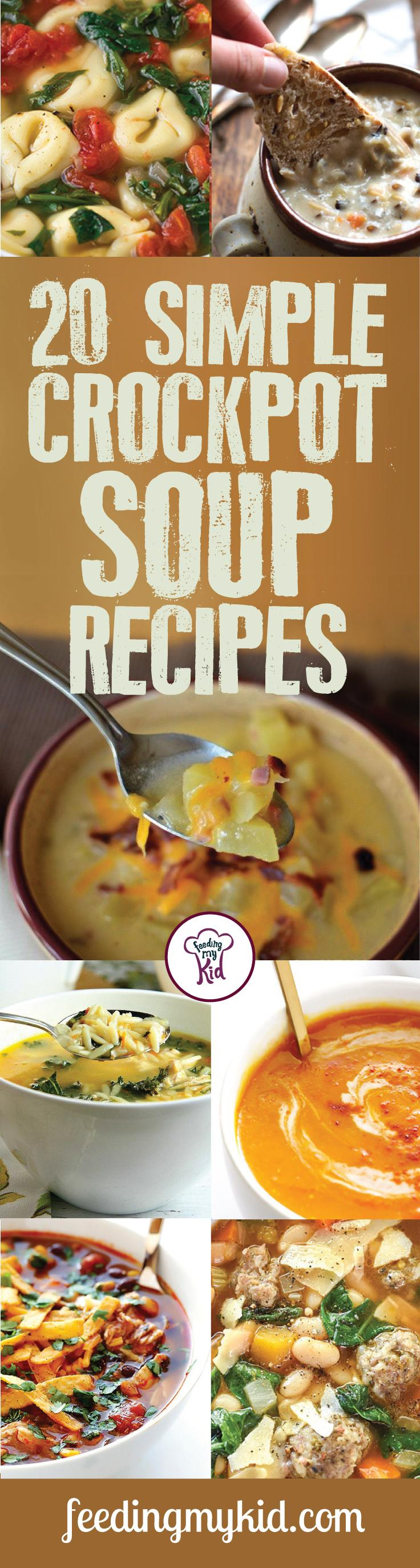 20 Simple Crockpot Soup Recipes - These amazing soup recipes are a must share and must pin! They're perfect for the whole family! From slow cooker black bean soup to spicy chicken soup; these recipes are amazing! So give these a go! There's rich in nutrients, high in fiber and the perfect recipes that will get kids to eat their vegetables! #fmk #recipes #crockpot