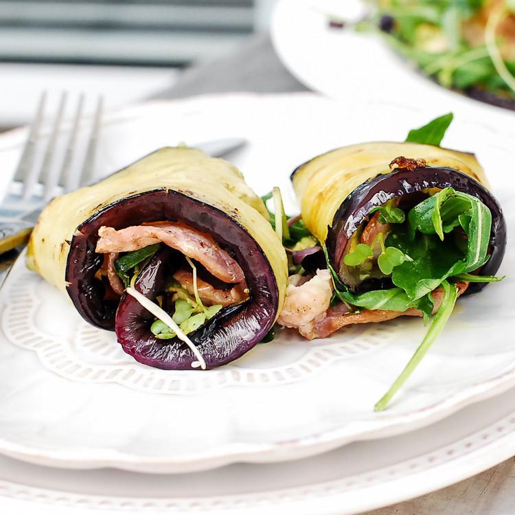 Eggplant, Avocado And Bacon Wraps