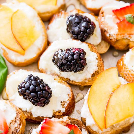 Goat Cheese, Honey, And Fruit Crostini