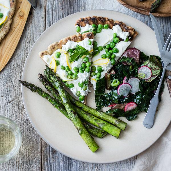 Grilled Gluten Free Pizza With Peas, Lemon And Mint
