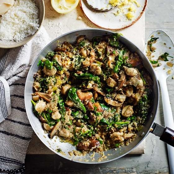 Mushroom And Spinach Quinoa Risotto