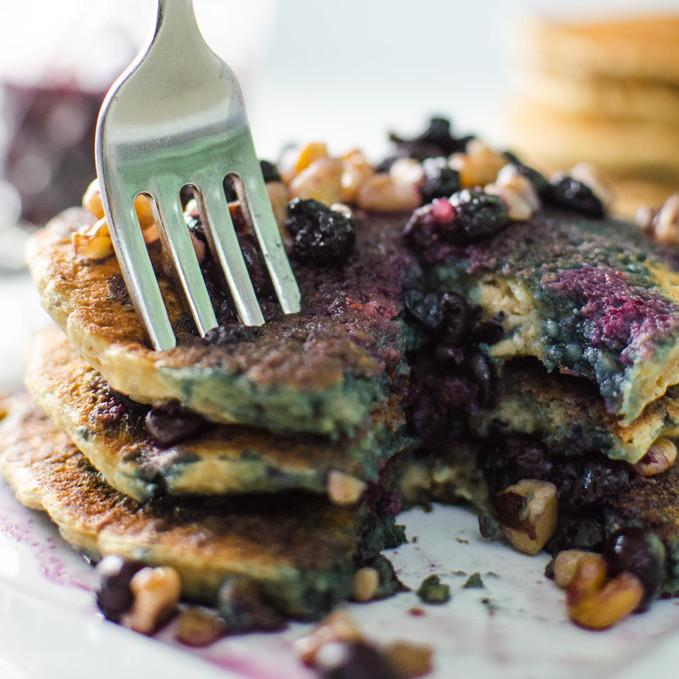 Oatmeal Chia Pancakes With Blueberry Walnut Syrup