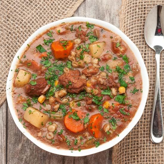 Slow Cooker Beef Vegetable Barley Stew