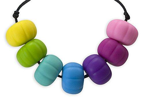 Stimtastic Chewable Silicone Chunky Bead Necklace Nontoxic BPA And Phthalate, Pastel