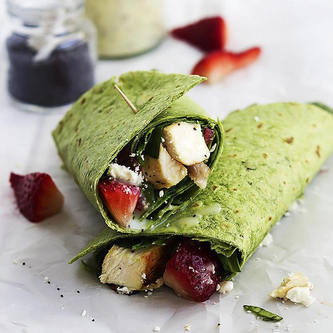 Strawberry Chicken Bacon And Spinach Wraps With Poppyseed Dressing