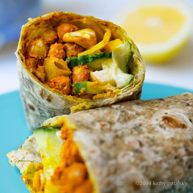 Sweet, Spicy, Curry Chickpea Cool Cucumber Wraps