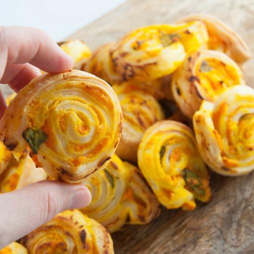 Vegan Pumpkin Basil Pinwheels