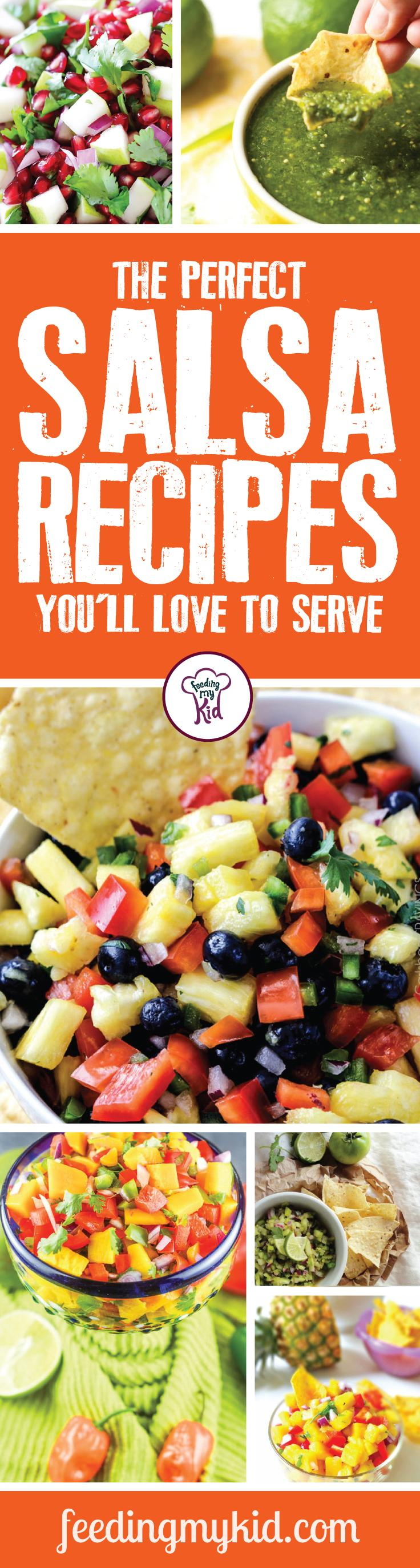 The Perfect Salsa Recipes You'll Love to Serve - Sometimes it's nice to showcase the perfect party dish to show just how good of a cook you are. That's why we put together this list of the perfect salsa recipes you'll love to serve! From rainbow salsa to a roasted cherry tomato salsa; this is a must pin! #fmk #salsa #recipes