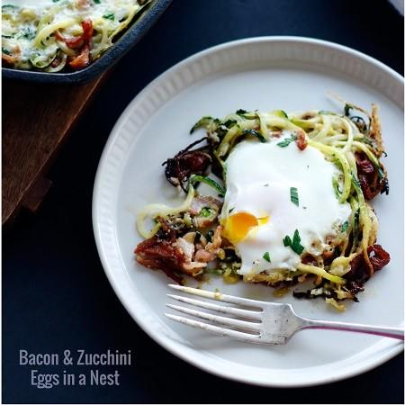 Bacon And Zucchini Eggs In A Nest