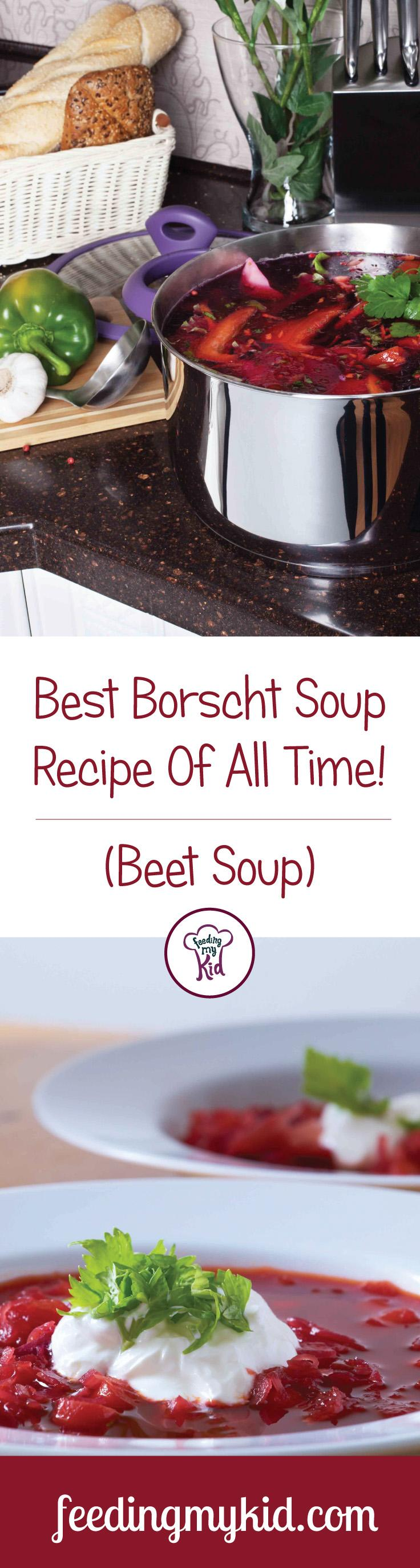 This is a must pin! This is one of my favorite soup recipes! This Borscht recipe can rival any restaurant's recipe by far! This soup can be eaten warm or cold, so it can be enjoyed on a hot summer day or a cold winter night. Give it a try! Feeding My Kid is filled with all the information you need, from healthy tips to nutritious recipes like this one! #Borschtsoup #recipes #tips #Borscht