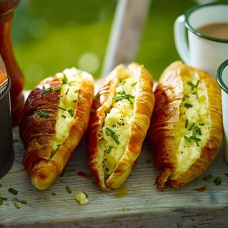 Cheesy Scrambled Egg Croissants