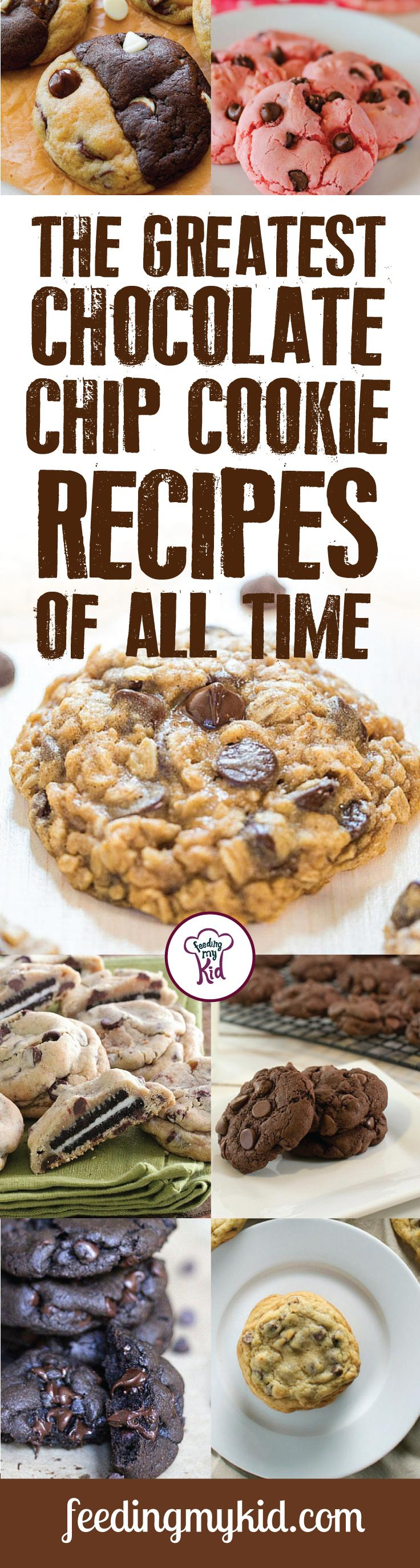 The Greatest Chocolate Chip Cookie Recipes Of All Time. This is a must pin !Try these great chocolate chip cookies recipes. From double chocolate chip to inside out chocolate chip! Feeding My Kid is a great website for healthy recipes, dinner recipes and ways to eat clean. #easyrecipes #recipes #FMK