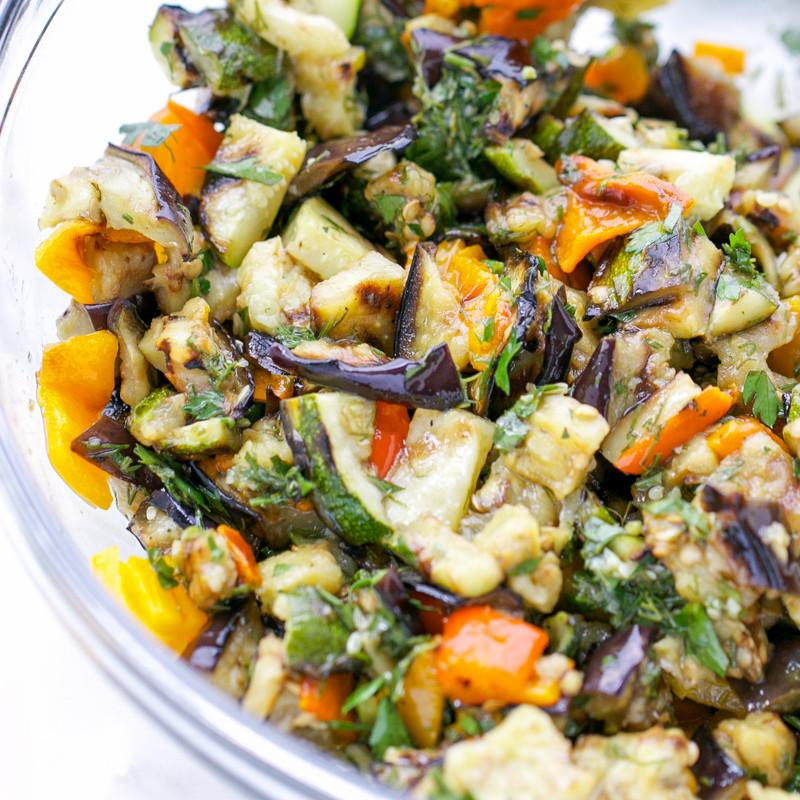 Grilled Eggplant Zucchini And Peppers Salad