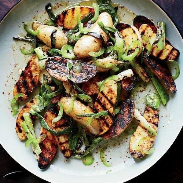Grilled Potato Salad With Scallion Vinaigrette