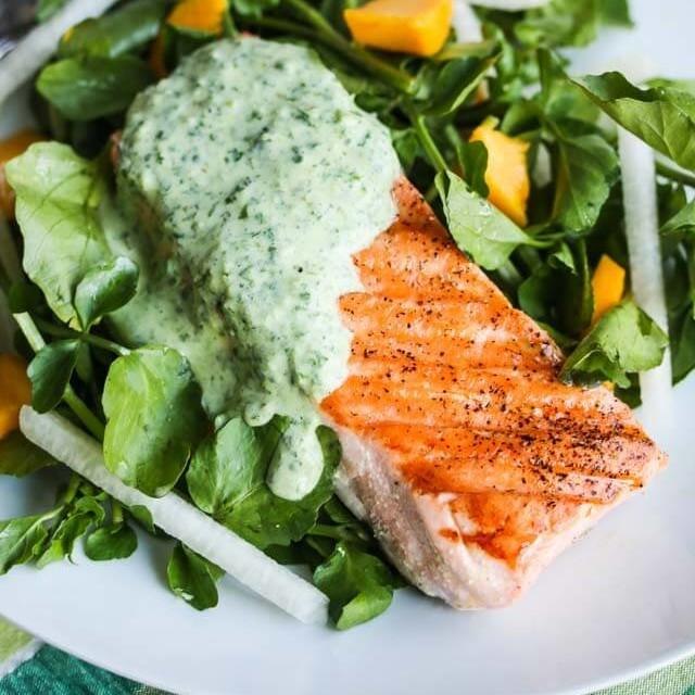 Grilled Salmon With Herb Yogurt Sauce