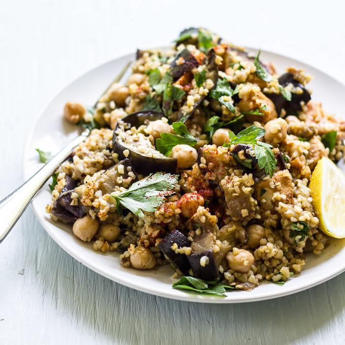 Spiced Eggplant, Chicken And Chickpea Salad