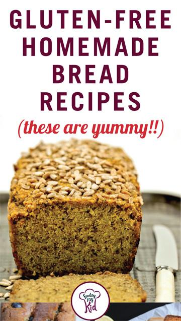 Thinking of going gluten free but can't live without the goodness of bread? Here're some great gluten free bread recipes just for you! Feeding My Kid is a website for parents, filled with all the information you need about how to raise your kids, from healthy tips to nutritious recipes. #bread #recipes #glutenfree