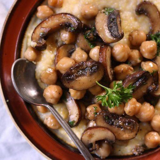 Chickpea And Baby Portobello Mushroom Marsala Over Creamy Polenta Recipes