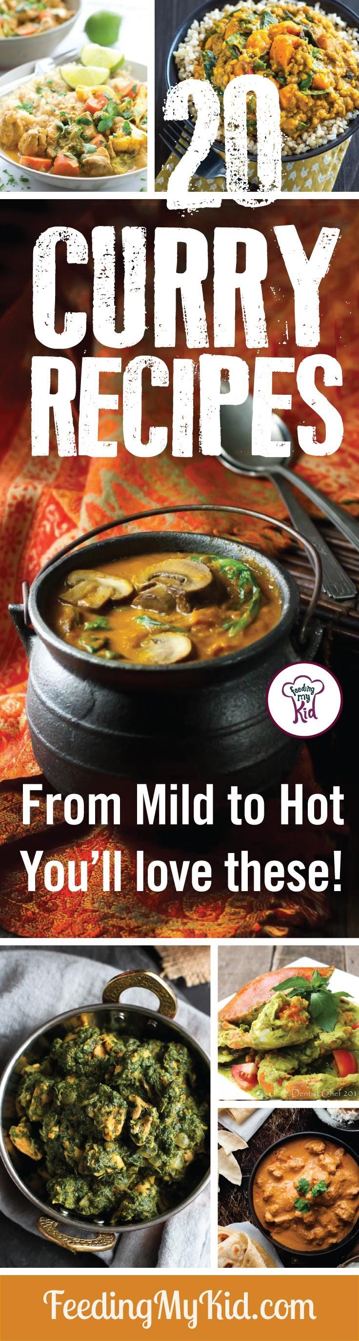 We put together these amazing hot and mild curry recipes. From chickpea and butternut squash curry to baby eggplant curry. You'll love these! Feeding My Kid is a filled with all the information you need about how to raise your kids, from healthy tips to nutritious recipes. #curry #recipes #curryrecipe