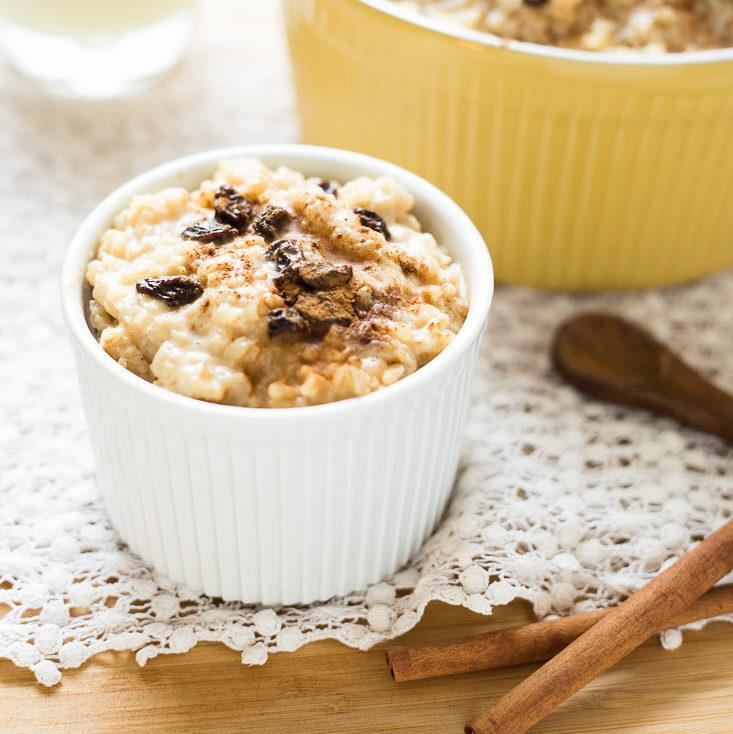 Healthy Homemade Eggnog Rice Pudding