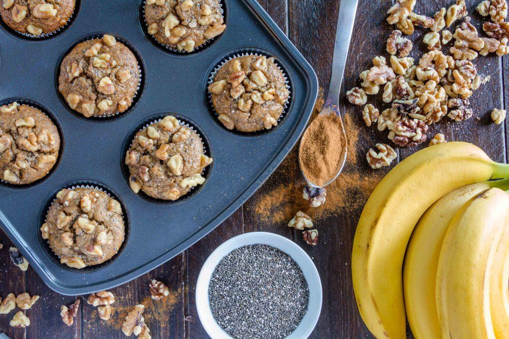 Healthy Muffins Recipe with Bananas and Chia Seeds. Healthy eating for kids.