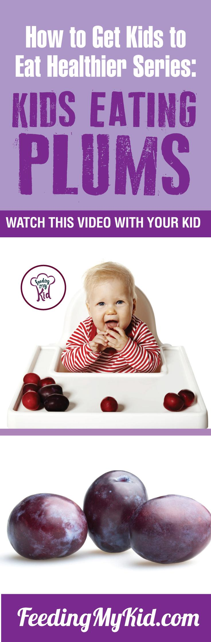 Watch these videos with your kids of kids eating plums and get your kids to eat plums. Find out how it works here. Feeding My Kid is a filled with all the information you need about how to raise your kids, from healthy tips to nutritious recipes. #plums #pickyeating #getkidstoeat