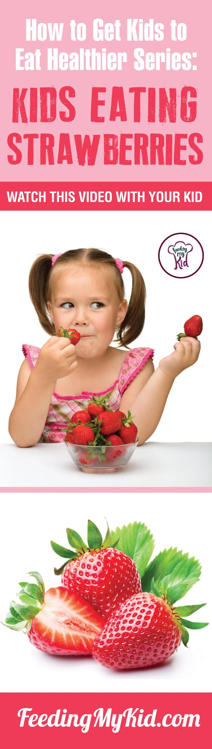 This is a must pin! Watch these videos with your kids of kids eating strawberries and get your kids to eat Strawberries, too. Find out how it works here. Feeding My Kid is a filled with all the information you need about how to raise your kids, from healthy tips to nutritious recipes. #Strawberries #pickyeating #getkidstoeat