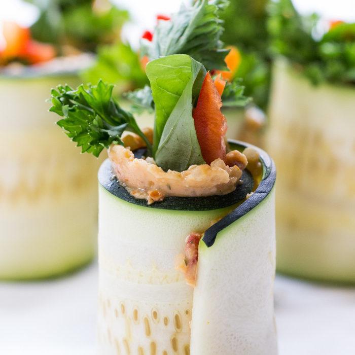 Quinoa And Hummus Zucchini Roll Ups