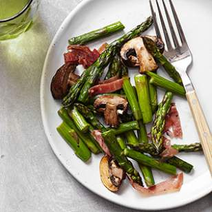Roasted Asparagus, Mushrooms And Prosciutto Recipe
