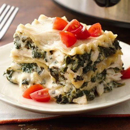 Slow Cooker Spinach Alfredo Lasagna Recipe