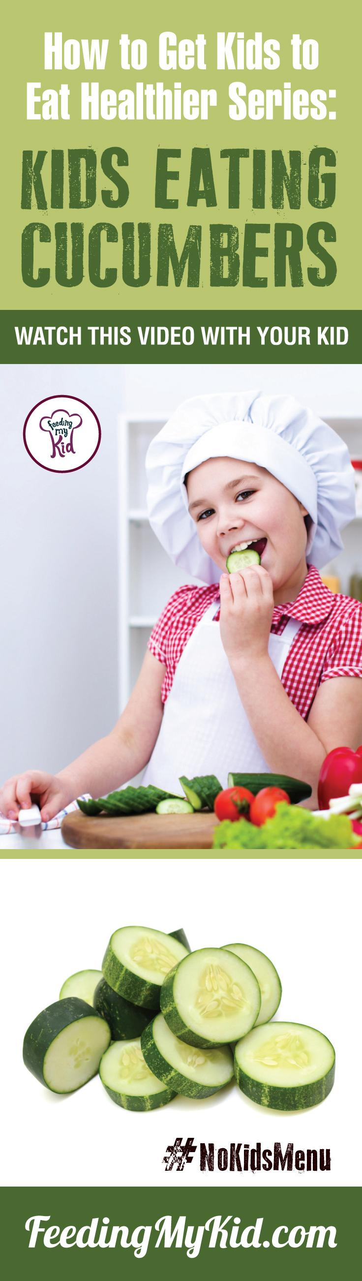 Want your kids to eat cucumbers? You can teach your kids healthy eating habits. Watch these videos with your kids of children eating veggies and fruits and get your kids to eat veggies and fruits. Find out how it works here. Feeding My Kid is a filled with all the information you need about how to raise your kids, from healthy tips to nutritious recipes. #FeedingMyKid #pickyeating #getkidstoeat #cucumbers #nokidsmenu